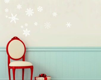 Elegant Holiday Snowflakes Cluster  Wall Decal Custom Vinyl Art Stickers