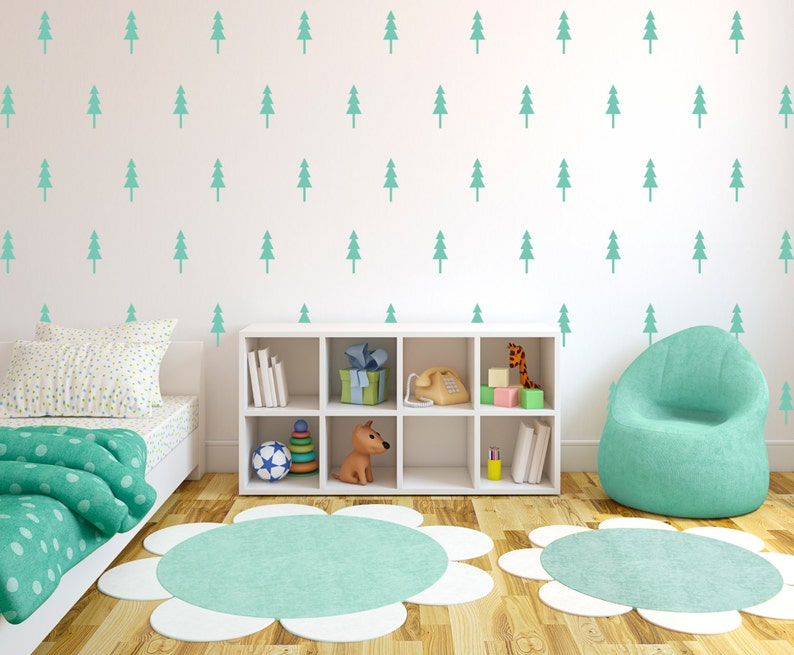 Pine Tree Wall Pattern Decals Forrest Design  Wall Decal image 0