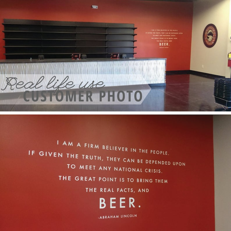 Wall Decal Custom Vinyl Art Stickers Lincoln Beer Quote Typography