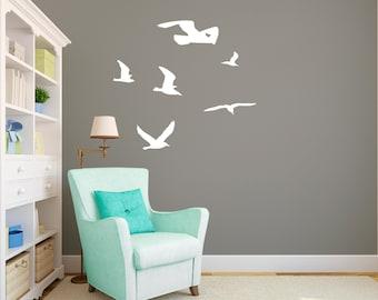 Seagulls Flock Flying Sihlouettes - Wall Decal Custom Vinyl Art Stickers