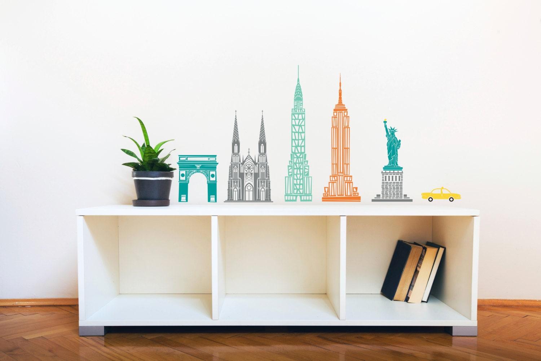 Mid Century Modern Illustration New York City Scene Wall Decal Custom Vinyl Art Stickers