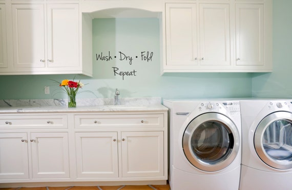Laundry Room Quote Wash Dry Fold Repeat Laundry Decor Wall Etsy