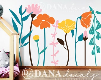 Large Wall Kid's Room Floral Whimsical Multi-Colored Wall Mural Decals - Wildflower Wall Art Vinyl Decals for Play rooms, Schools, Nursery