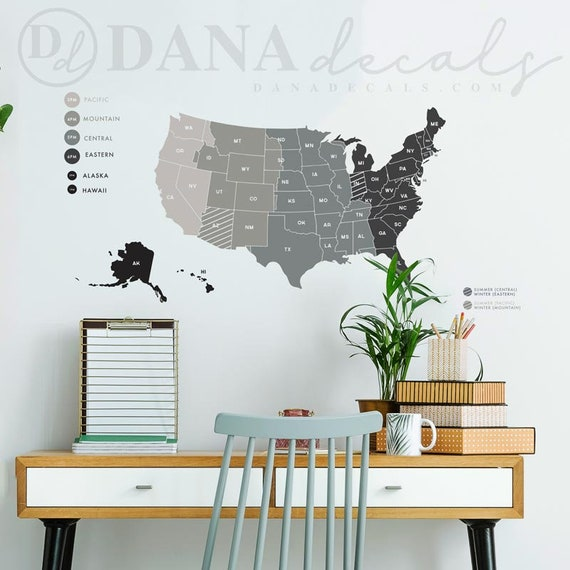 Small United States Time Zone Map Mult Color Wall Decal Etsy