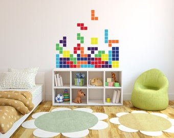 Small Tetris Vintage Arcade Game - Wall Decal Custom Vinyl Art Stickers