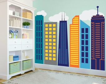 Bold Colorful Geometric City Skyline - Large Wall Decal Custom Vinyl Art Sticker Collection for Superhero Themed Kid's Rooms, Nurseries