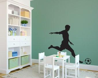 Sports Male Soccer Player Kicking Ball - Wall Decal Custom Vinyl Art Stickers
