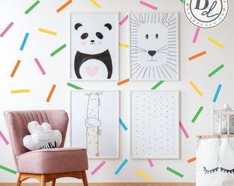 Multi-Colored Whimsical Sprinkle Pattern -  Vinyl Wall Decal Pattern Stickers for, Girl's Rooms, Nurseries, Play Rooms, Sweet Themes