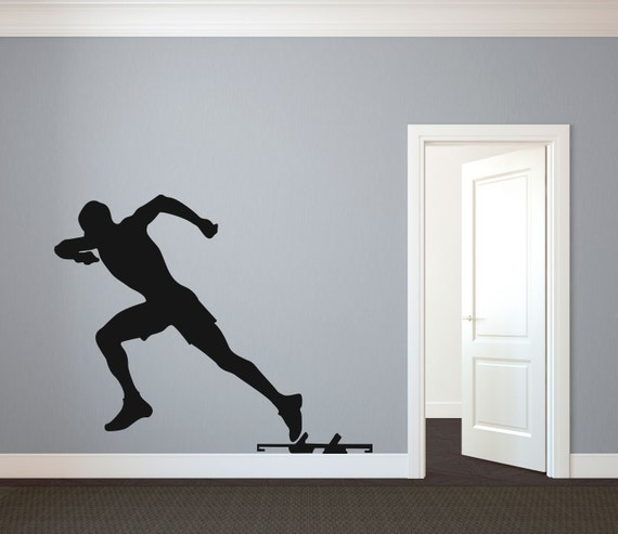 Vinyl Wall Decal Sport Silhouette Football Player Running Version 2