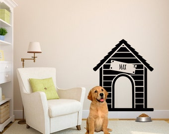 Personalized Dog House - Wall Decal Custom Vinyl Art Stickers