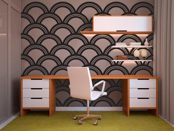 art deco scallop pattern decal wall decal custom vinyl art | etsy
