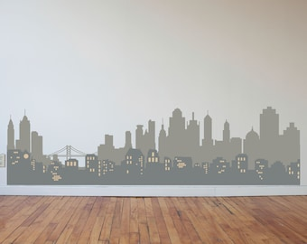 Layered City Skyline Silhouette with City Lights - Wall Decal Custom Vinyl Art Stickers