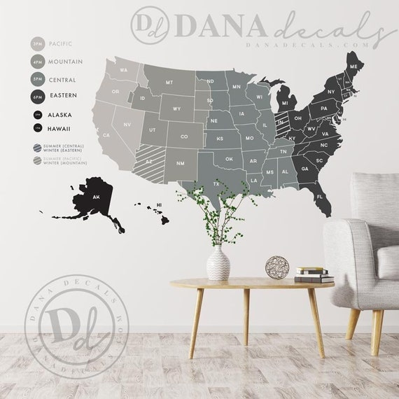 X Large United States Time Zone Map Mult Color Wall Decal Etsy