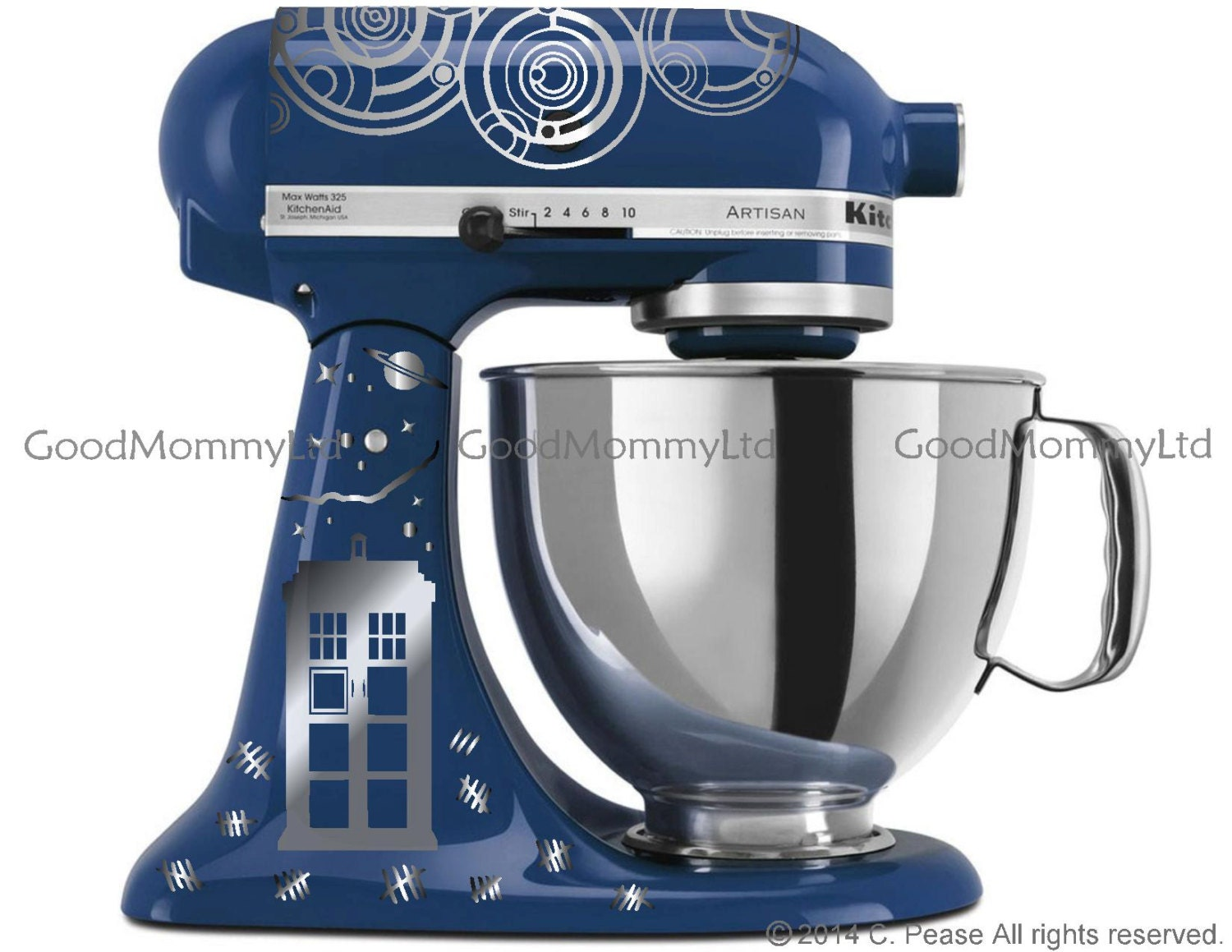 Dr Who Inspired Time Lord Souffle Girl Kitchenaid Stand Mixer Decal Kit For Whovian Bakers With Gallifreyan Tardis
