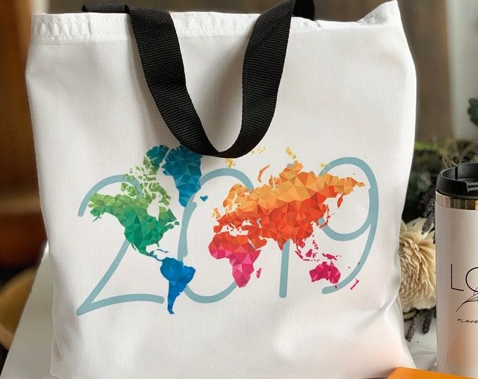 Large Colorful Tote 2019 Convention International Convention Design with Black Handles