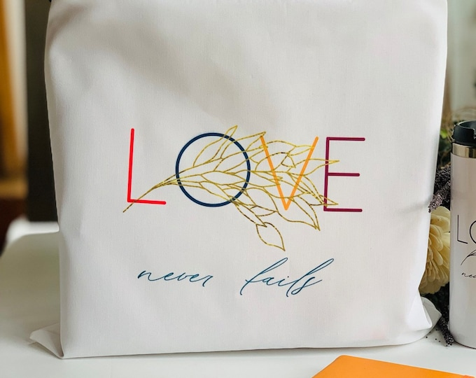 Large Colorful Love Never Fails Tote