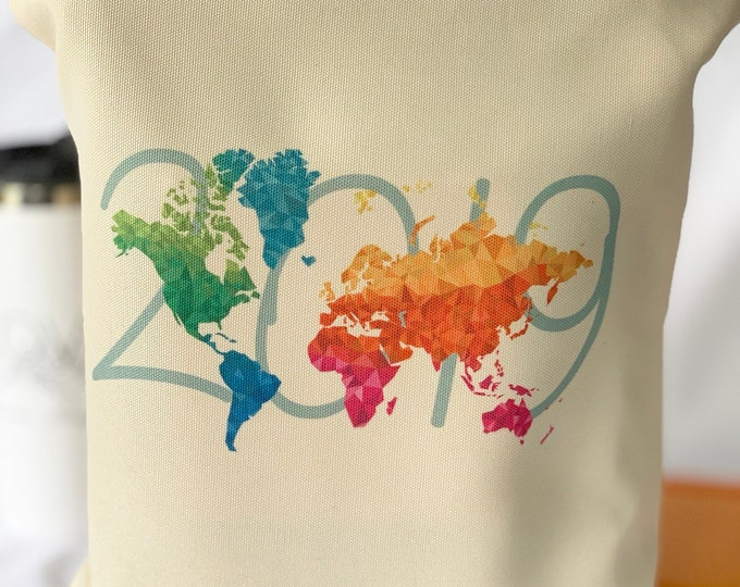 2019 Colorful Map Canvas Tote