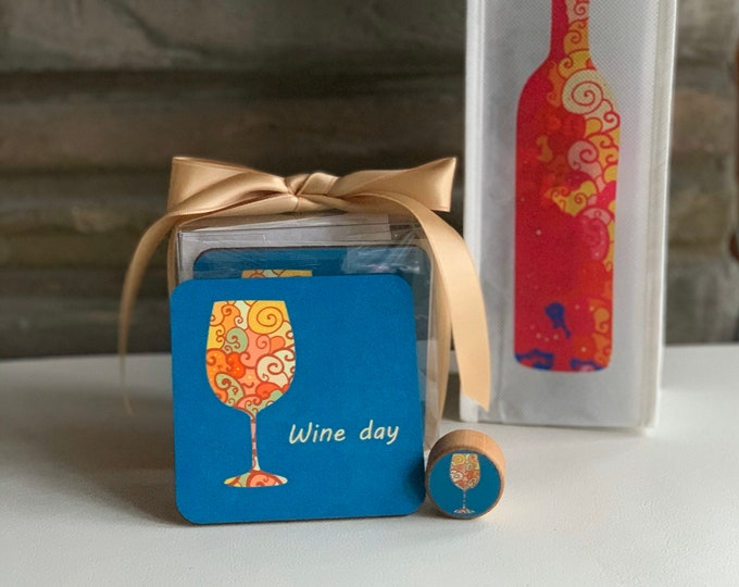 Featured listing image: Set of 4 Matching Coasters, Wine Bottle Stopper and Wine Tote