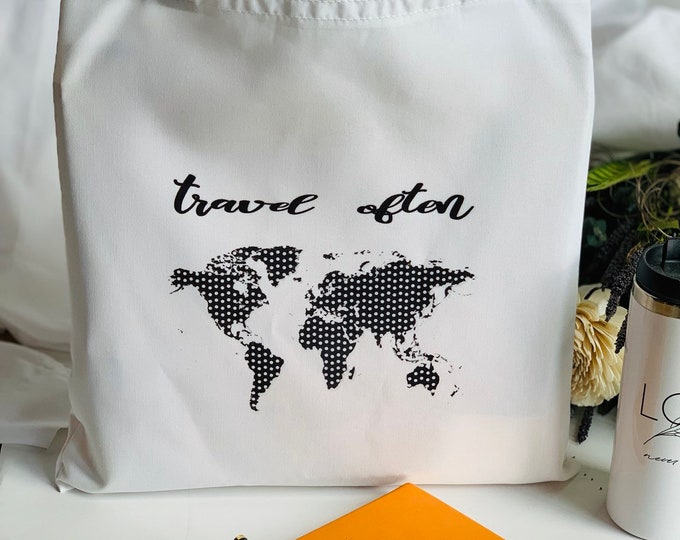Travel Often Black and White Tote with polka dot pen