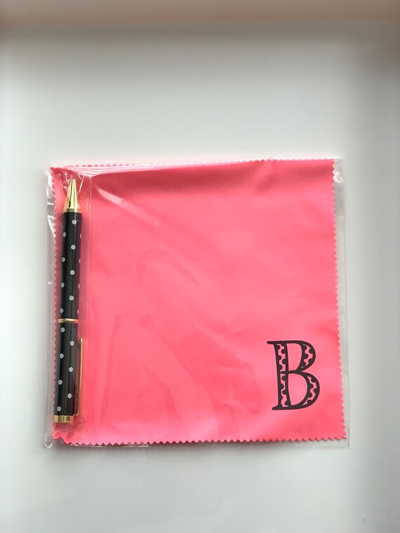 Monogram Hot Pink Microfiber Cloth and Pen Gift Set
