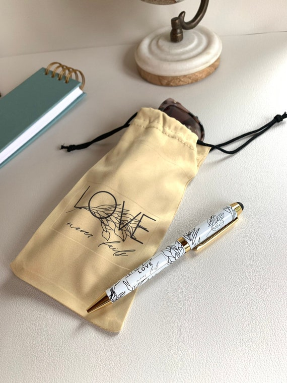 Gold Drawstring Pouch for Sunglasses and Stylus Pen Set