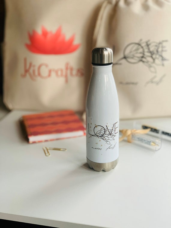 Love Never Fails Stainless Steel Water Bottle 17oz - White