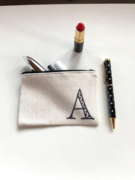 Polka Dot Pen and Monogram Pouch Set - A