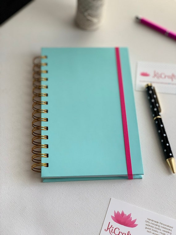 Handmade Aqua Spiral Bound Notebook and pen set