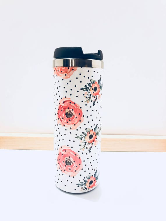 Watercolor Flowers and Polka Dots Tumbler