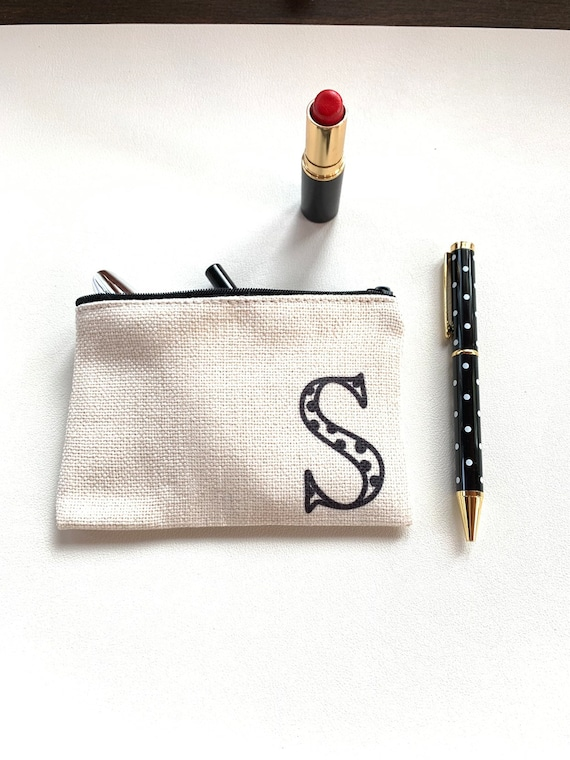 Polka Dot Pen and Monogram Pouch Set - S