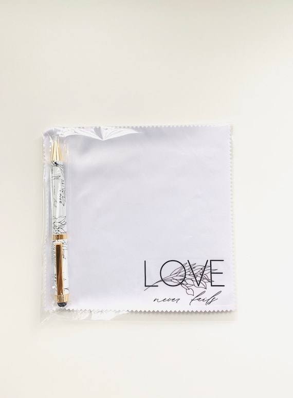 Love Never Fails Microfiber Cloth and Stylus Pen Gift Set