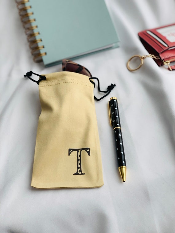 Gold Drawstring Pouch for Sunglasses and Pen Set
