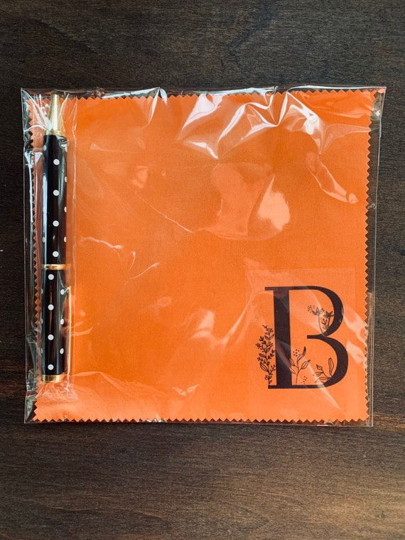 Monogram Orange Microfiber Cloth and Pen Gift Set