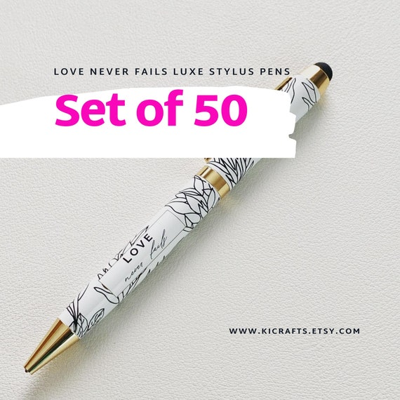 Limited Edition Love Never Fails Writing Pen with Stylus - Bulk Set of 50