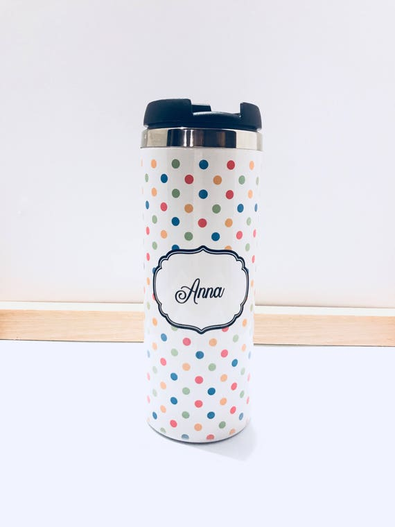 Personalized Colorful Polka Dot Tumbler - Anna