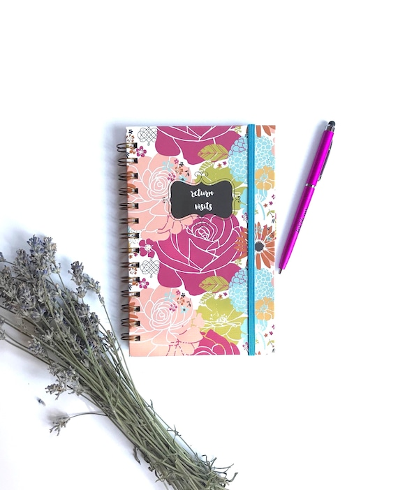 Slim Colorful Blooms Handmade Return Visit Book- TEN