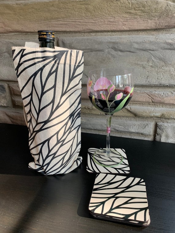 Cotton Wine Tote and Coasters Gift Set