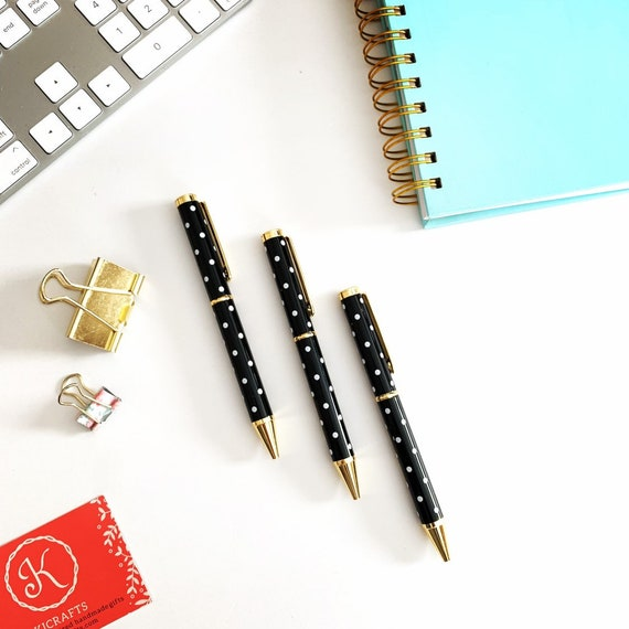 Black Polka Dot Writing Pens with Gold Trim - Set of 3