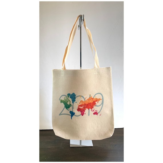 2919 Colorful Map Large Linen Canvas Tote