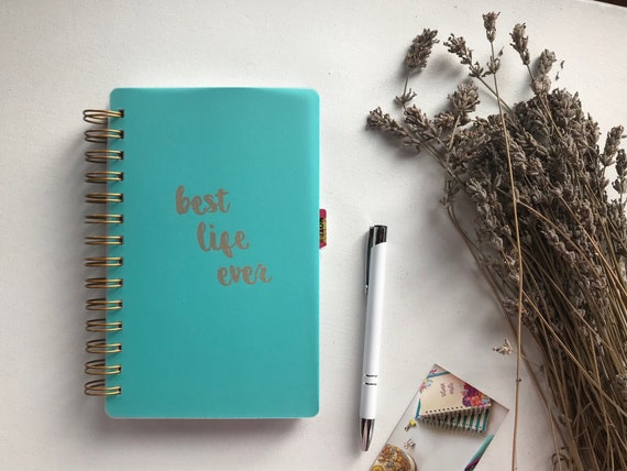 Handmade Best Life Ever Return Visit Book Teal and Gold