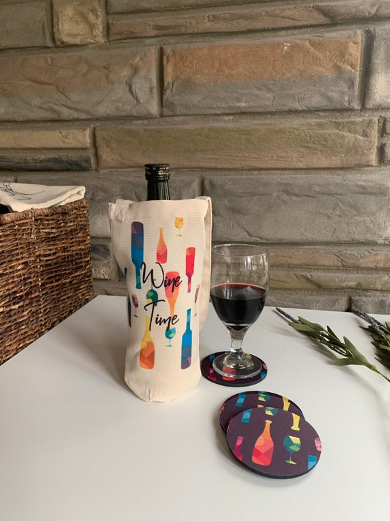 Wine Time Tote and Coasters Gift Set
