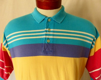 ef2621d7 Levi's dockers vintage 80's 90's bright color block jersey knit polo shirt  teal blue red yellow white horizontal stripe short sleeve Large