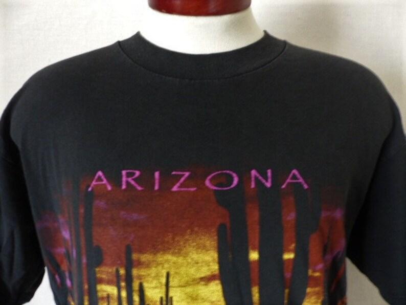 582af2b3 Arizona vintage 90's black graphic t-shirt saguaro cactus | Etsy