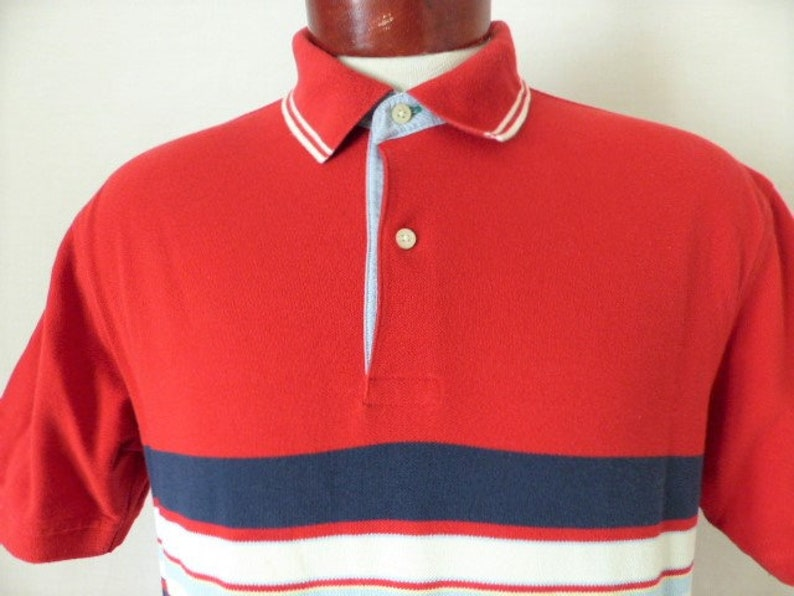 7d6a96907c Tommy Hilfiger vintage 90's red pique knit polo shirt | Etsy