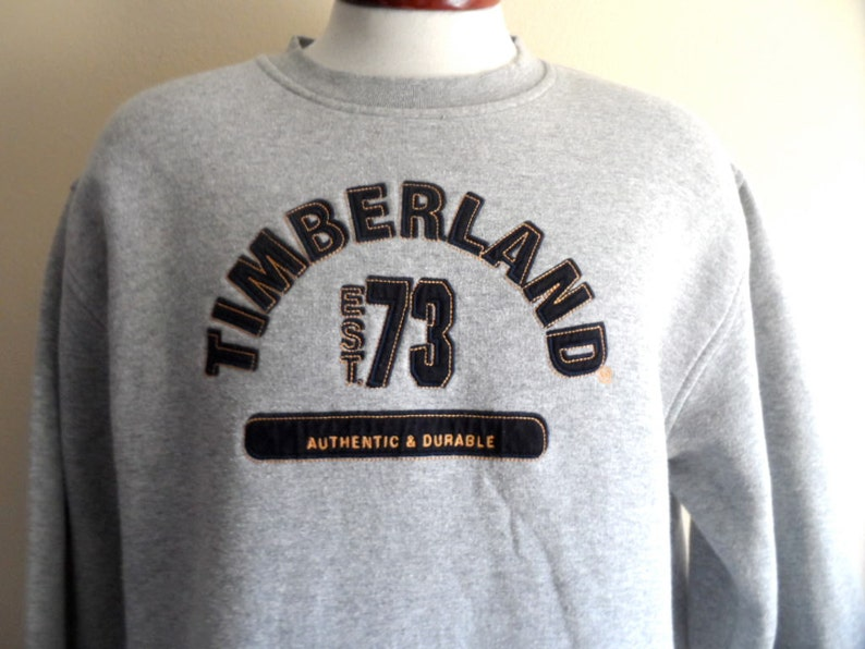 outlet store d0d62 642d1 Timberland vintage 90s heather grey fleece black yellow   Etsy