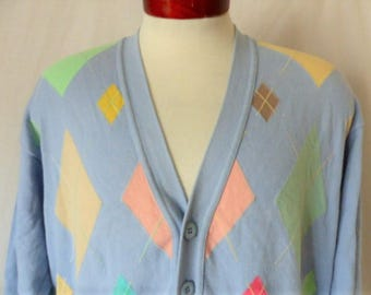 Benetton vintage 80's United Colors of pastel light blue cotton knit cardigan sweater pastel rainbow argyle pattern v neck button up medium