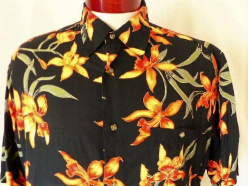 d664228e Aloha Puritan vintage 90's black hawaiian shirt yellow | Etsy