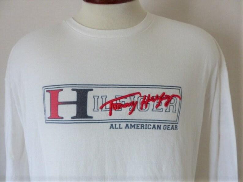 VINTAGE Tommy Hilfiger Long Sleeve Shirt Adult Large Black White Flag Logo Mens