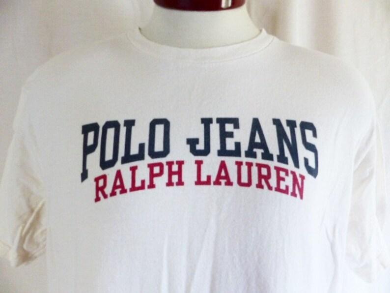 Bleu Graphique Spellout Jeans 90's Shirt Drapeau Vintage CoIvoire La Marine Lauren Polo De Blanc Rouge Bloc Lettre T Ralph UpqMzVGS
