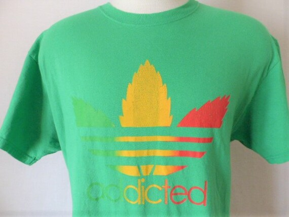 Addicted vintage 90's Kelly green graphic tee shirt adidas parody gradient green yellow red cannabis marijuana weed pot tre foil logo print